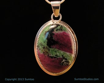 Ruby and Zoisite Sterling Pendant