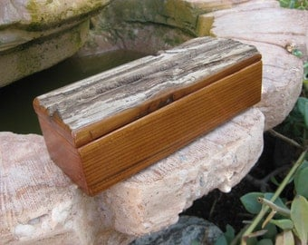 Redwood box with two compartments