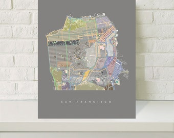 Streets of San Francisco Map Art /  Giclee Print Poster / Home and Living  / Wall Decor