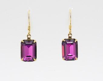 Amethyst Octagon- Swarovski Crystal Earrings