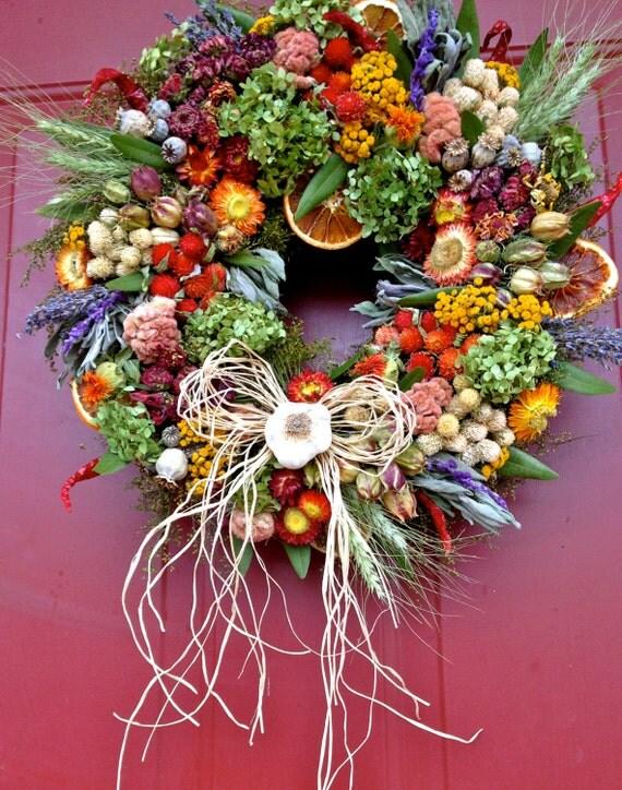 Dried floral wreathherb wreath kitchen