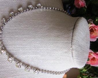 SALE Vintage ESTATE SALE Silver Rhinestone Keystone Bridal Necklace, Wedding, Engagement, Bridesmaid, Anniversary, Birthday, Gift For Her