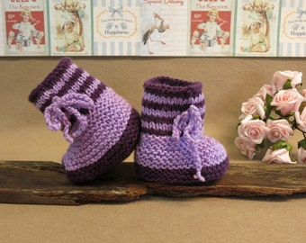 Hi Top Striped Knitted Baby Booties, Purple Newborn Knitted Shoes, Baby Photo Props Shoes