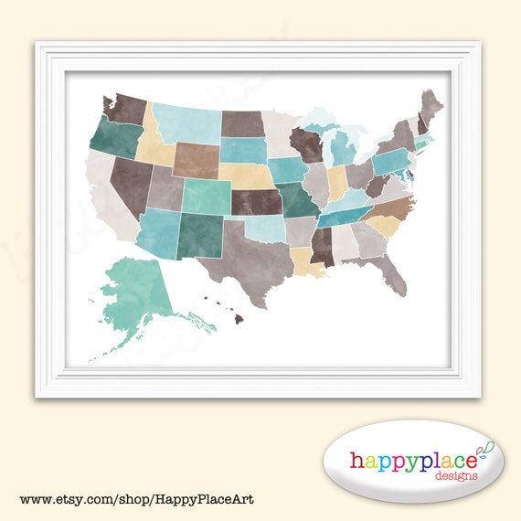 Watercolor Map Of USA In 8x10 Or 11x14in Suit Home Or Office - High Resolution Us Map Download