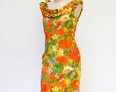 Hawaiian Dress-Vintage Dress-Wiggle Dress- Mr Jeremy Dress-Polynesian Dress- Hawaii Party Dress S/M