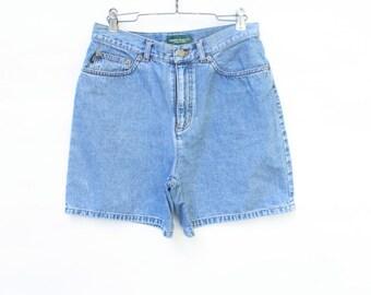 Vintage Shorts / 1980's Shorts / Ralph Lauren Shorts / High Waisted Shorts / Vintage Blue Denim S