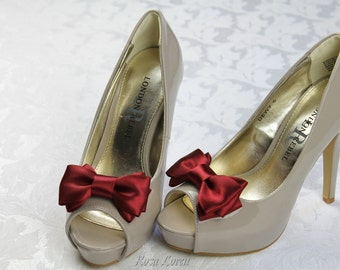 Dark Red Shoe Clip, Dark Red Bow Shoe Clips, Red Wedding Accessories Shoes Clip, Red Bow Clip Shoes
