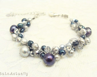 Black gray freshwater pearl bracelet with silver crystal on silk thread