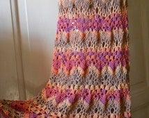 Crochet Skirt Long Cotton Skirt  Long Summer Skirt  Long Gypsy Skirt Salmon FREE SHIPPING
