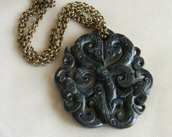 Nephrite pendant w double dragons w brass chain necklace , spinach green nephrite jewelry , Chinese carved nephrite , large nephrite pendant