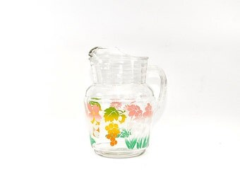 Colorful Vintage Glass Pitcher, Floral Pitcher, Pitcher w/ Flowers, Glass Vase, Water Pitcher, Lemonade Pitcher, Anchor Hocking Glass