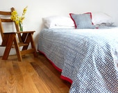 Queen Kantha Quilt // Blue and Red Bedding // Nautical Decor
