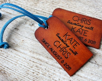 His and Hers Traveling With Leather Luggage Tags - Set of TWO - Couples Luggage Tags - Personalized - 3rd Wedding Anniversary - Leather Gift