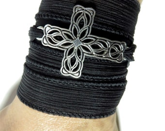 Boho Chic Silk Wrap Bracelet Cross Yoga Jewelry Bohemian Spiritual Wrist Wrap Christmas Stocking Stuffer Unique Birthday Gift For Her Or Him