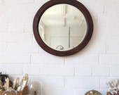 Vintage Round Bevelled Edge Wall Mirror with Wood Art Deco Frame