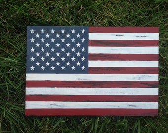 Distressed American Flag Wood Sign