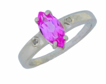 1 Ct Pink Sapphire & Diamond Marquise Ring .925 Sterling Silver Rhodium Finish
