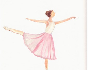 Ballerina art, original watercolour painting, 12 x 8.5 inch, ballerina art, ballet, ballet shoes