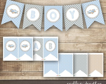 Baby Boy Bunting / Airplane Banner / Blue, Gray & Brown Printable Banner / Baby Shower Banner - INSTANT DOWNLOAD - Printable