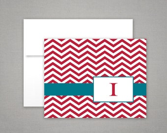 Personalized Stationery - Chevron - Initial Monogram - Preppy Notecards - Personalized Stationary