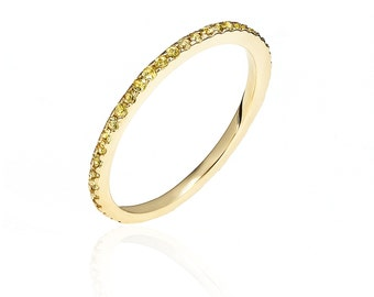 Almost Eternity Yellow Gold & Yellow Sapphire Band