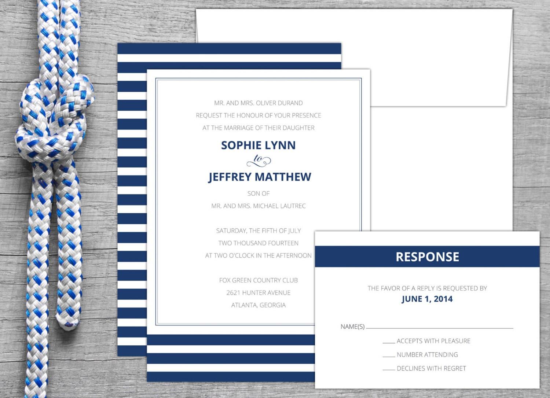 Nautical Stripe Wedding Invitation Nautical Wedding Invite – Nautical Wedding Invite