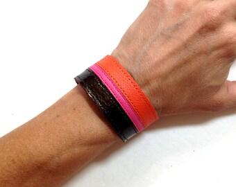 Brown pink orange striped leather bracelet cuff, leather braclet, leather braclet cuff.