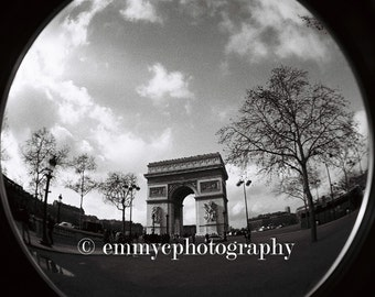 "Paris Arc de Triomphe - Fisheye Photo Print - Black and White 6"" x 4"" / 10x15cm - UK Seller"