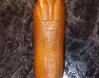 Egyptian Mummy Candle yellow throughout with golden highlights Altar Spell Ritual Candle Handcast in Scotland Candle Magic