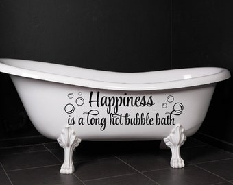 Amazing Bathroom Decor Happiness Is A Long Hot Bubble Bath Bubbles Wall Decal  Bathroom Decal Bubbles Decor