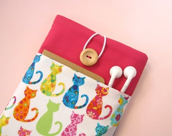 iPad Case, iPad Cover, iPad Sleeve with pocket - Cute Pink Cats.