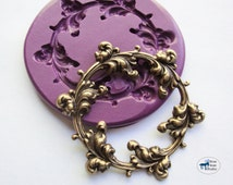 Ornate Leaf Frame Mold/Mould - Victorian Scrollwork Flourish - Silicone Molds - Polymer Clay Resin Fondant