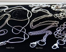 """Floating Locket Chains - 16"""", 18"""", 20"""", 24"""", 32"""" Necklaces - Stainless Steel Ball Chain Rolo Chain Flat Oval Link Chain Snake Chain"""