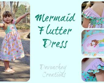 Mermaid Flutter Sundress, sizes 2 through 7