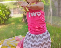 Girls Birthday outfit, 2nd birthday shirt, Riley Blake chevron skirt, girls Birthday shirt and skirt
