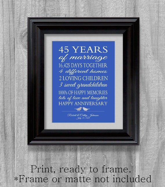 45th Anniversary Gift Parents Sapphire Blue Personalized Love Story ...