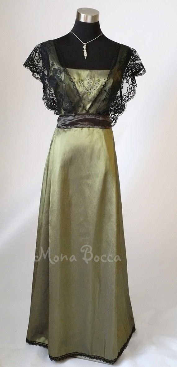 Edwardian Dress Olive Sage Green HANDMADE To ORDER In England