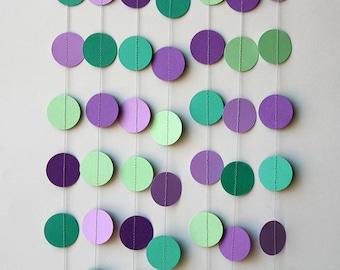 Sage green & purple garland, Wedding decor, sage green wedding, Wedding decoration, Wedding garland, Bridal shower, Paper garland, KC-1068