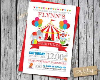 Circus Birthday Invitation, Carnival Theme 5th Birthday Invitation, 4th, 3rd, 2nd or 1st Birthday, Circus Party, Carnival Party 6x4 or 5x7