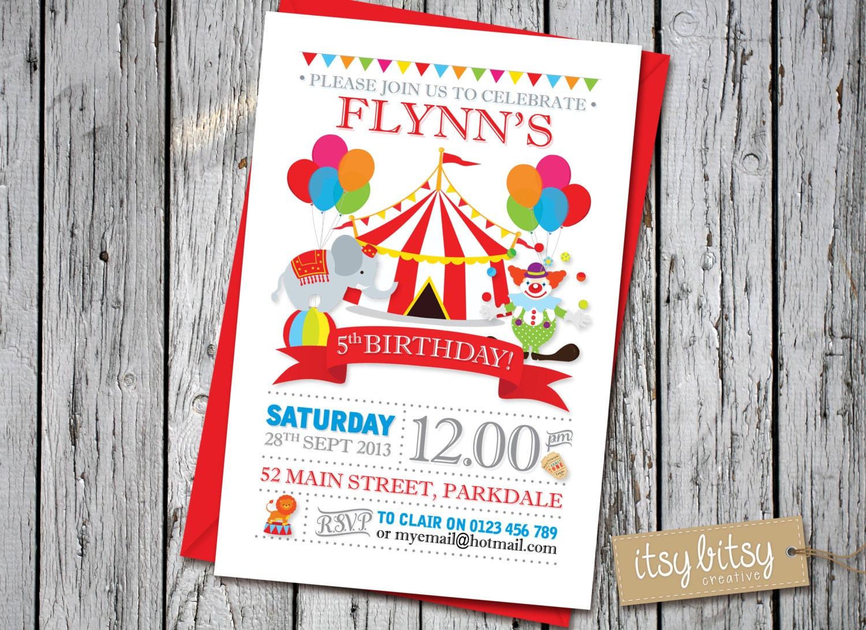 circus birthday invitation carnival theme 5th birthday