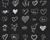 INSTANT DOWNLOAD 25 Chalkboard Valentine Heart Digital Frames Ornate Vintage Wedding Invitation Clip Art Scrapbook Art Decor COMMERCIAL Use
