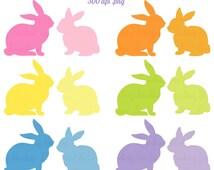 Easter bunny clip art,  rabbit clipart, bunny silhouette clipart,  digital scrapbook supplies, spring clipart,  DIGITAL DOWNLOAD CA 127