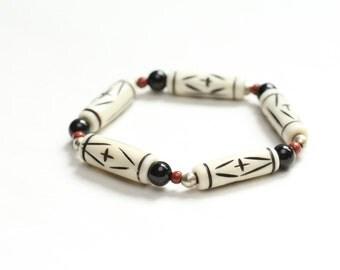 tribal chic bracelet / african jewelry / spring jewelry bone onyx ethiopian nickel jasper stretch bracelet / boho geometric bracelet #412