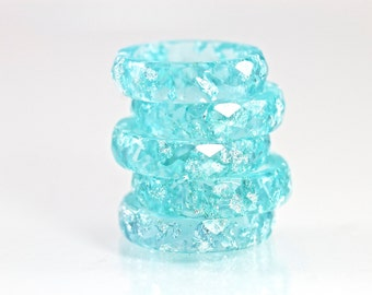 Resin Ring - Teal Blue Eco Resin Faceted Ring with Silver Flakes