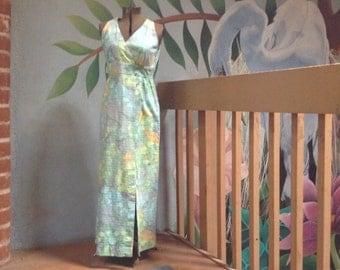 Hawaiian Barkcloth Maxi Dress--Vintage Aloha Dress--70s Maxi Dress.