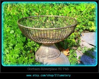 Gorham Silverplate YC 745 Fluted Wire Basket Bowl