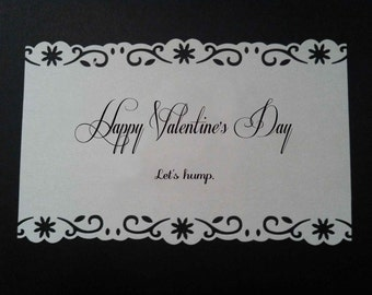 Happy Valentine's Day. Let's hump. Funny Folded Card. Fully Loaded Hearts.