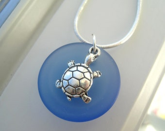 Sea Turtle Jewelry - Turtle Necklace - Blue Glass Necklace - Recycled Glass - Sea Animal Jewelry -  Necklace and Earring Set