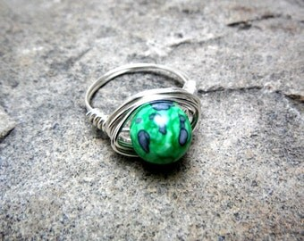 Rainbow Jasper Ring, Wire Wrapped Ring, Green Stone Ring, Green Ring, Wire Wrapped Jewelry Handmade, Gemstone Ring, Chunky Ring