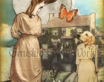 A Secret Invitation for Maragild - Anthropomorphic Watercolor Collage, Fairy Tale Art, Print